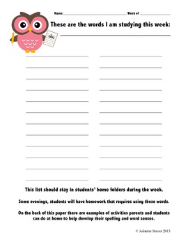 Spanish and English Spelling/Word Study Home Resource