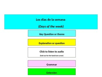 Spanish - days of the week