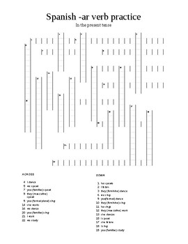 Spanish ar verbs in the present tense crossword puzzle worksheet