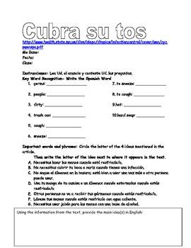 Spanish authentic health reading activity