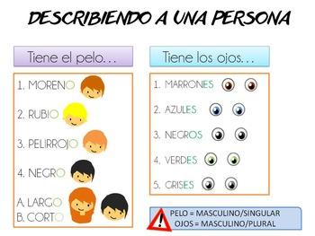 Spanish basic description Level A1 Physical descriptions.