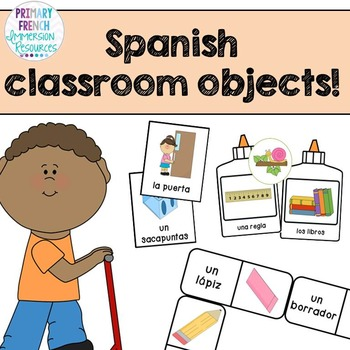 """Spanish classroom objects - Flashcards, """"bug in a rug"""" gam"""