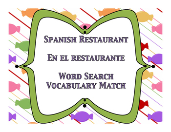 Spanish el restaurante word search and vocabulary matching
