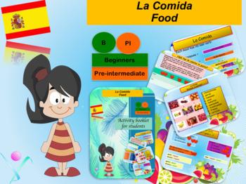 Spanish food bundle (powerpoint/booklet) for beginners NO PREP