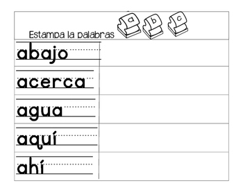 Spanish high frequency words/ Palabras de uso frecuente