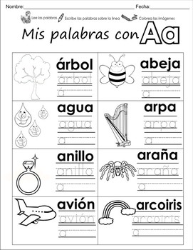 """Spanish letter of the week """"A"""" 8 different center/homework"""