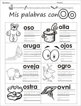 "Spanish letter of the week ""O"" 8 different center/homework"