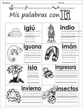 "Spanish letter of the week ""i"" 8 different center/homework"