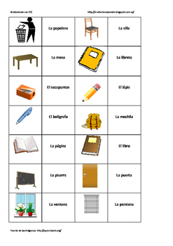 Spanish memory game. The classroom
