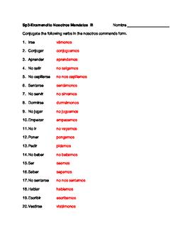 Spanish nosotros commands quiz