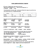 Spanish nouns, gender and articles notes