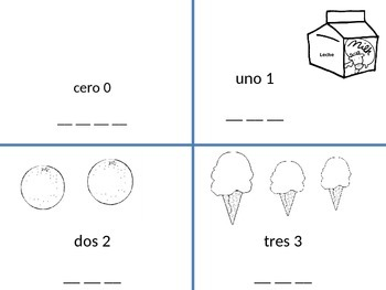 Spanish numbers numeros 0-3 writing practice coloring sheet