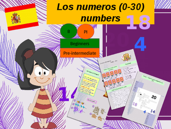 Spanish numbers, los numeros (0-30) PPT for beginners