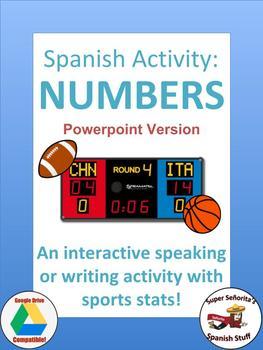 Spanish numbers speaking activity: Sports statistics (Powe