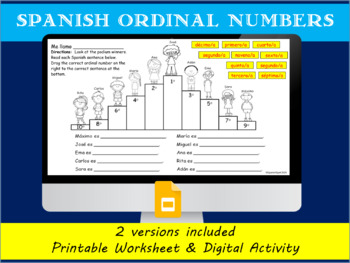 Spanish ordinal number practice- Podium winners