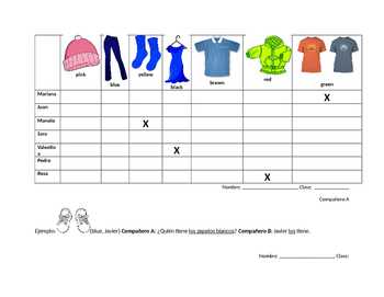 Spanish partner direct object pronoun and clothing vocabul