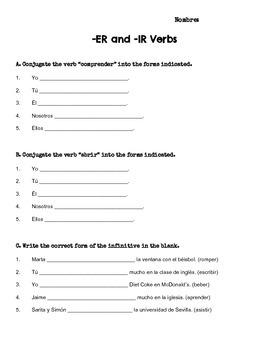 Spanish present tense -er and -ir verb worksheet