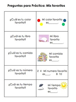 Spanish question and answer cards