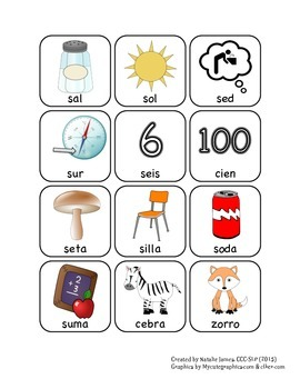 Spanish /s/ Articulation Cards with Varying Syllable Length