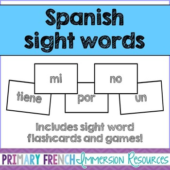 Spanish sight word flashcards and games