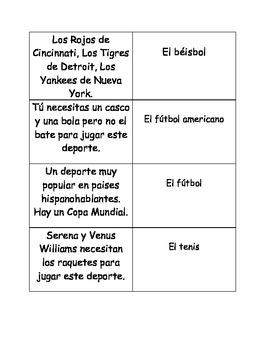 Spanish sports vocabulary matching cards
