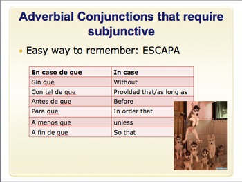 Spanish subjunctive doubt with ESCAPA A conjunctions
