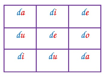 Spanish syllable Bingo D