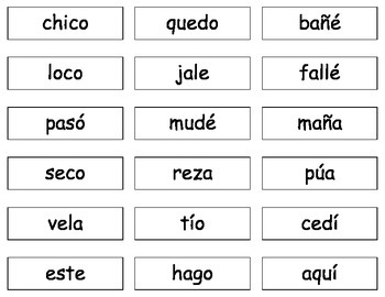 Spanish syllable seg. cards CV-VC-V reading- Lectura en es