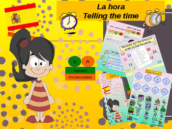 Spanish time and activities, la hora PPT for beginners