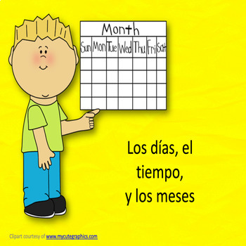 Spanish weather, days of the week, and months bundle