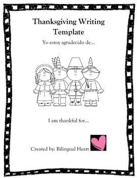 Spanish/English Thanksgiving Writing Templates