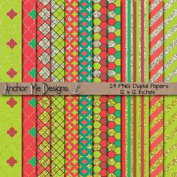 Sparkling Christmas Silver and Gold Glitter Digital Papers