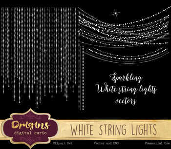 Sparkling white string lights vectors, png overlay clipart