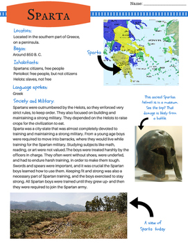 Introduce Ancient Sparta! Informative text, fun facts and more