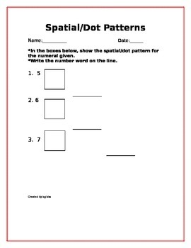 Spatial/Dot Patterns for First Grade