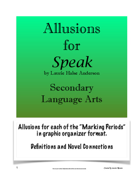 Speak - Analyzing Allusions; Secondary Language Arts