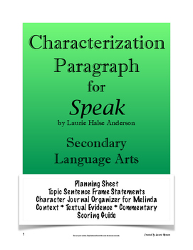 Speak - Characterization Paragraph Assignment