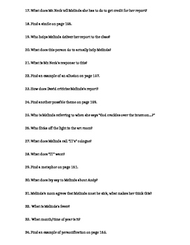 Speak Marking Period 4 Guided Reading Questions