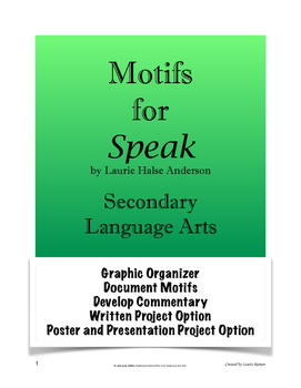 Speak - Motifs; Analyzing Motifs; Secondary Language Arts