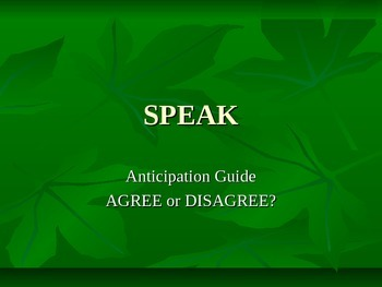 Speak by Laurie Halse Anderson - Anticipation Guide