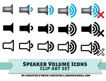 Speaker Volume Icon Clip Art Set
