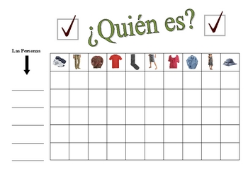 Spanish Clothing Speaking Activity (Large Group, Whole Class)