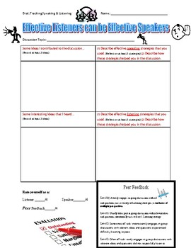 Speaking & Listening Skill: Discussion Tracking Sheet