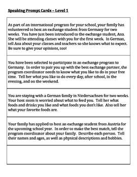 German Level 1 - Speaking Prompt Cards