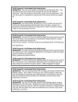 Speaking activity / Actividad de hablar (Spanish 3-4)