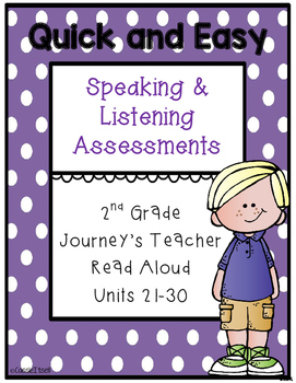 Speaking and Listening Assessments {2nd grade Journeys}