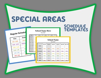 Special Areas Schedule Templates