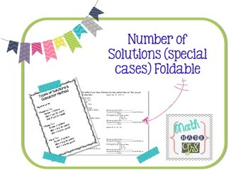 Special Cases/Number of Solutions Foldable