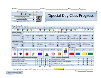 Special Day Progress Report Card-BLUE