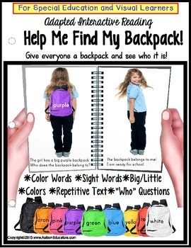 Special Education BACK TO SCHOOL Adapted Interactive Book